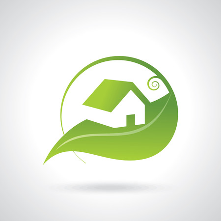 town house: BIO GREEN HOUSE ICONS Illustration