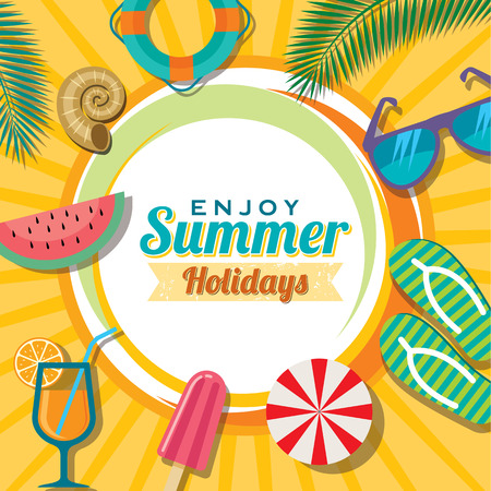 yazlık: Yaz tatili illüstrasyon yaz arka plan Çizim