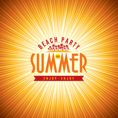 summer beach party: Summer Beach Party Vector Flyer Template