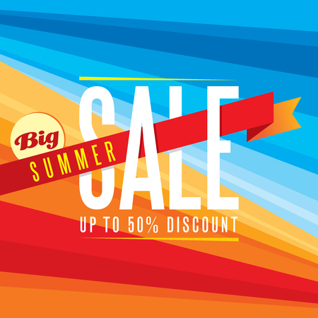 on off: Summer sale design template Illustration