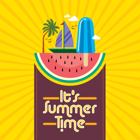 in the summer: Summer holidays illustration  summer background