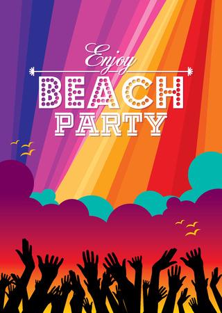 fiestas discoteca: Plantilla del partido del verano de la playa Vector folleto