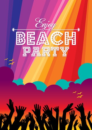 disco girls: Summer Beach Party Vector Flyer Template