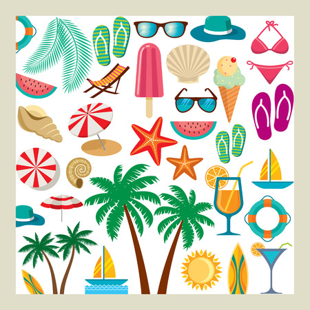 flip flops on the beach: Summer icon set