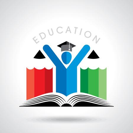 Gelukkige studenten met potlood icoon. educatieve symbool Stockfoto - 39943721