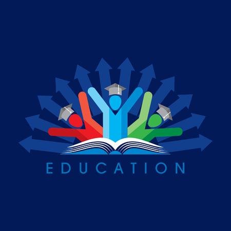 estudiantes felices con el icono del lápiz. símbolo educativa Ilustración de vector