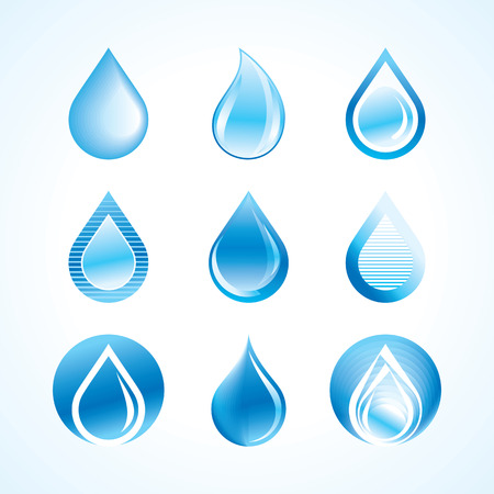 lagrimas: Vector Gotas De Agua Icon Set