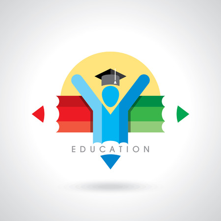 鉛筆のアイコンと幸せな学生。教育のシンボル  イラスト・ベクター素材