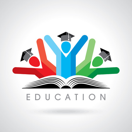 Education icon: happy students with pencil icon. educational symbol Illustration