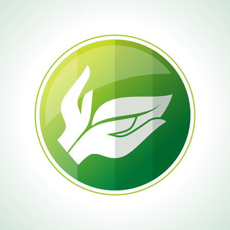 plant tree: Ecology icons with green leaves in vector
