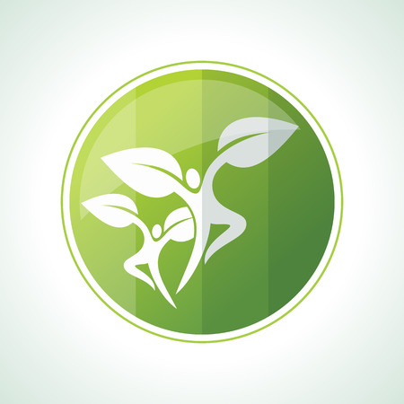 badge vector: Ecology icons with green leaves in vector
