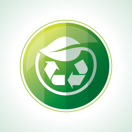 recycle symbol vector: Ecology icons with green leaves in vector