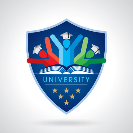 estudiar: estudiantes felices con el icono del escudo. símbolo educativa Vectores
