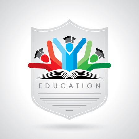 university students: happy students with shield icon. educational symbol