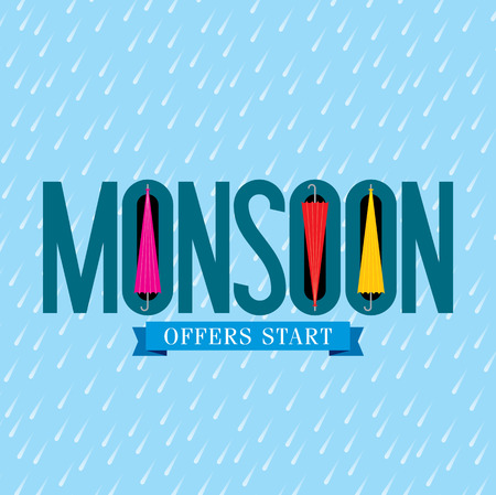 Monsoon offer and sale banner flyer or poster. Stock Illustratie
