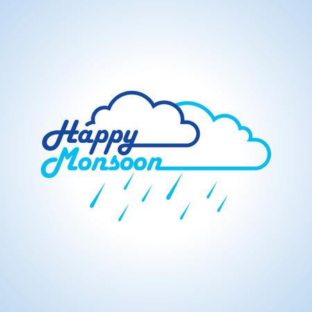 Monsoon offer and sale banner flyer or poster. Illustration