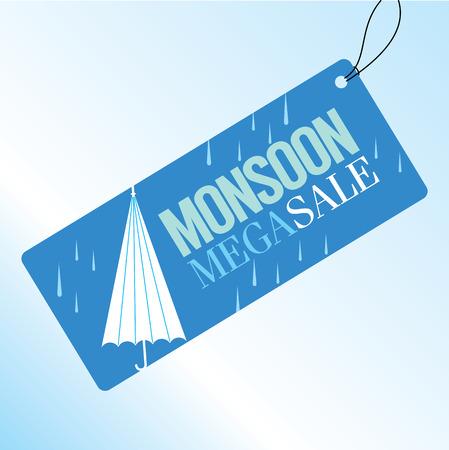 monsoon: Monsoon offer and sale banner flyer or poster. Illustration