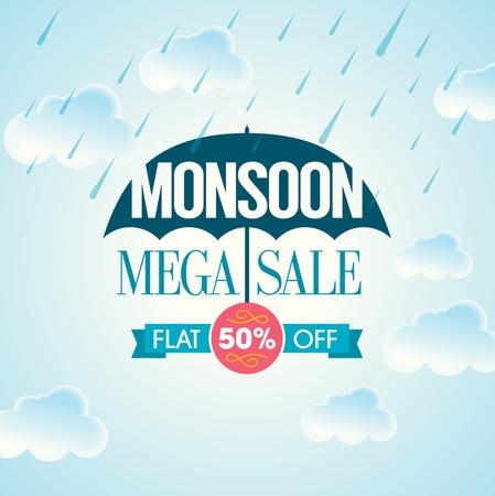 Monsoon aanbod en de verkoop banner aanbod of poster.
