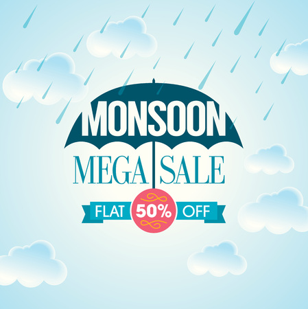 Monsoon offer and sale banner offer or poster. Ilustração