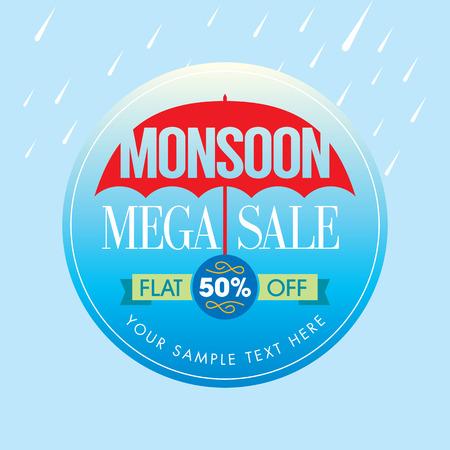 Offerta Monsoon e vendita offerta banner o poster. Archivio Fotografico - 41621317