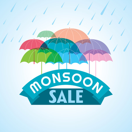 Monsoon offer and sale banner offer or poster. Vectores