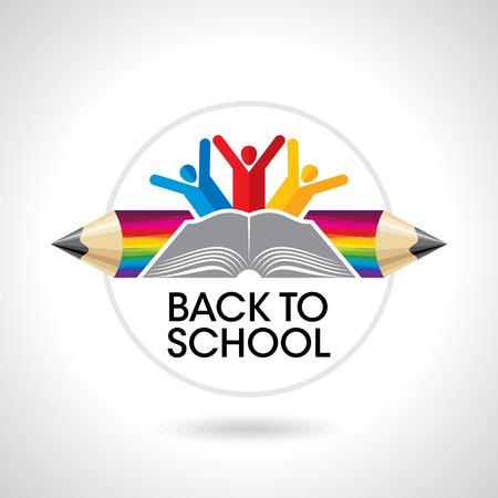 niños con lÁpices: estudiantes felices con el icono del lápiz. símbolo educativa Vectores