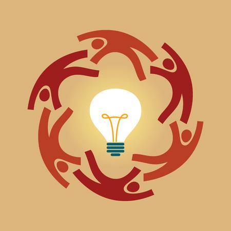 creativeness: Vector concept of creative teamwork with light bulb Illustration