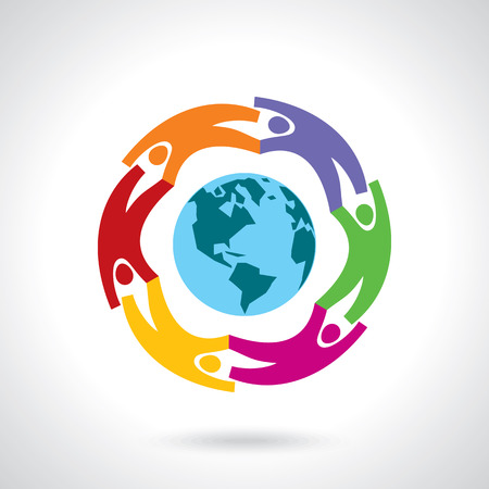 international business: Earth Globe with people teamwork concept