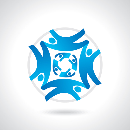 negocios internacionales: Globo de la tierra con el concepto de trabajo en equipo de personas Vectores