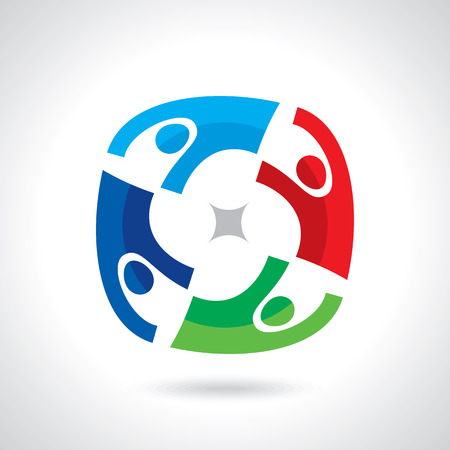 unity: Concept of communityworkersunitysocial networking icon image template. Teamwork vector