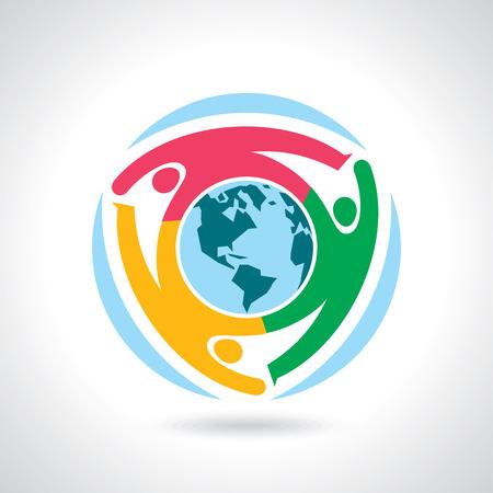 planeta tierra feliz: Globo de la tierra con el concepto de trabajo en equipo de personas Vectores