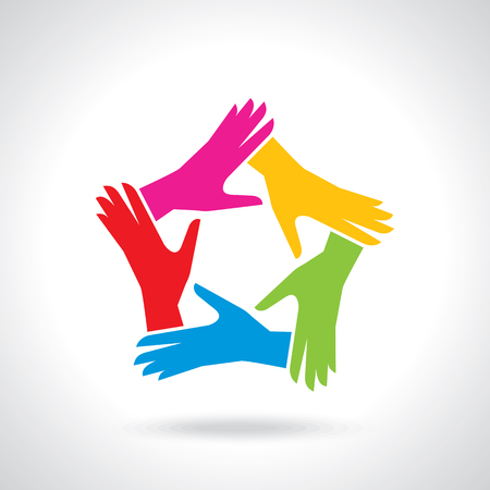 Corporations: Vector of teamwork hands people icon Illustration