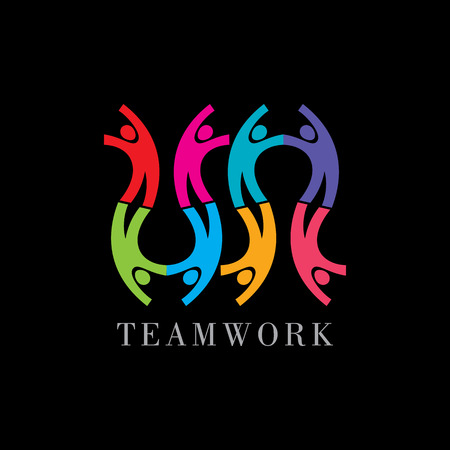 Concept van communityworkersunitysocial networking pictogram template. Teamwork vector
