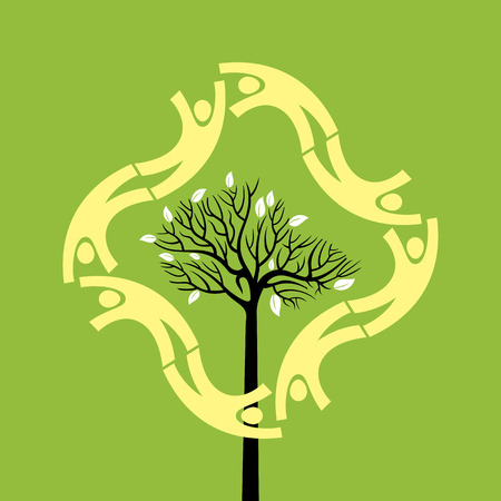 participate: creative group of hands with save tree