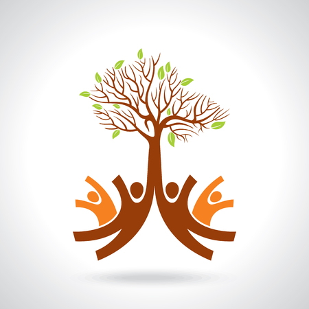 hand tree: creative group of hands with save tree