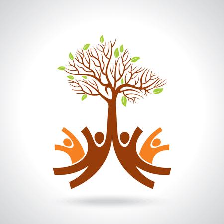 trabajo en equipo: grupo creativo de las manos con el árbol de ahorro
