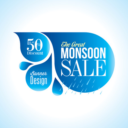 Monsoon offer and sale banner offer or poster. Ilustracja