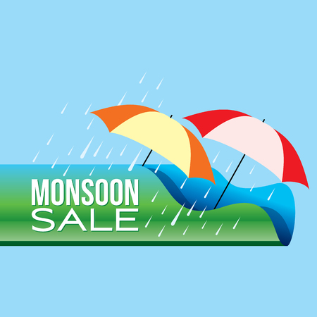 Monsoon offer and sale banner offer or poster.  イラスト・ベクター素材