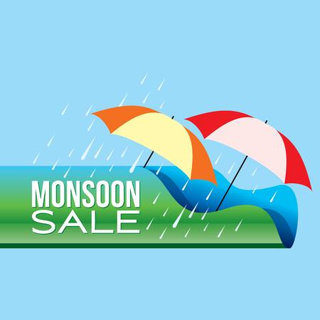 モンスーンの提供と販売のバナー提供やポスター。
