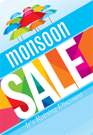 rainy season: Monsoon offer and sale banner offer or poster. Illustration
