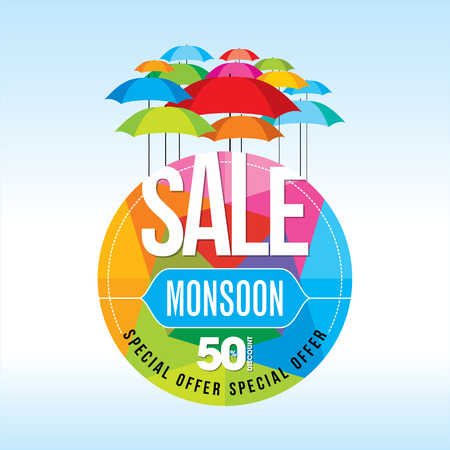 Monsoon offer and sale banner offer or poster. Vektorové ilustrace
