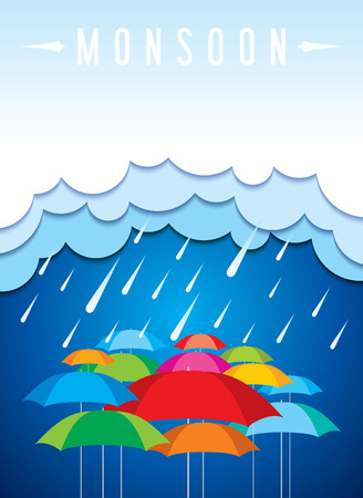 Monsoon offer and sale banner offer or poster. Stock Illustratie