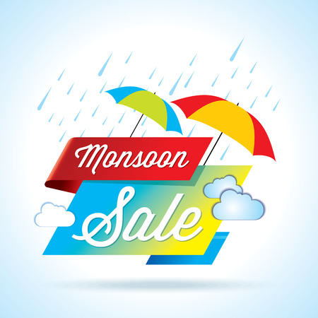 Monsoon offer and sale banner offer or poster. Vettoriali