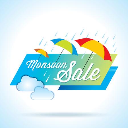 Offerta Monsoon e vendita offerta banner o poster. Archivio Fotografico - 41622037
