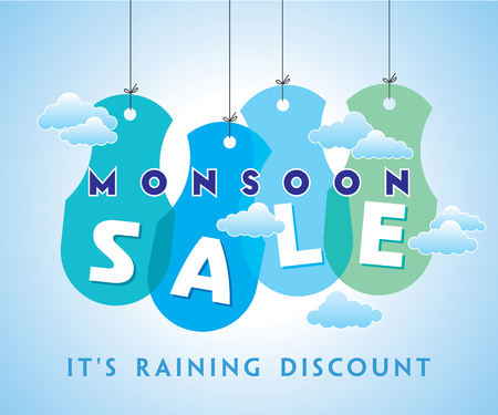 monsoon clouds: Monsoon offer and sale banner offer or poster. Illustration