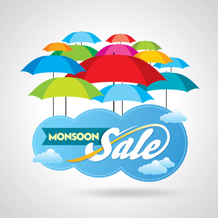 off day: Monsoon offer and sale banner offer or poster. Illustration