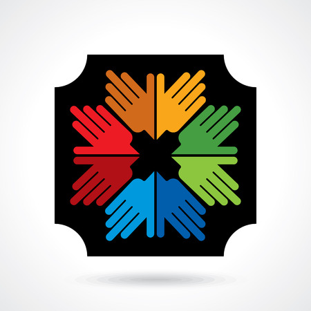 multicultural group: Teamwork symbol. Multicolored hands Illustration