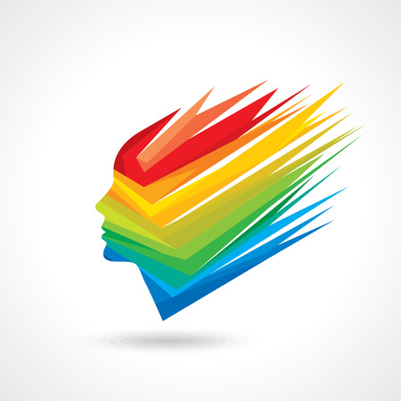human face: Thoughts and options. vector illustration of colorful head