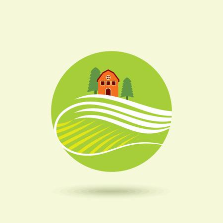 farm sign: House Logo design vector template. Organic Natural Farm Logotype. Eco green nature village concept icon.