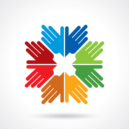 strength in unity: Teamwork symbol. Multicolored hands Illustration
